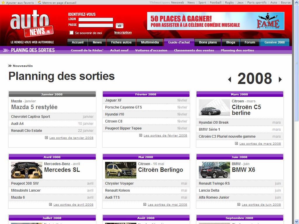 calendrier des sorties autos 2008